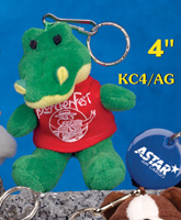 4 inch alligator key chain with printed t-shirt. Order customized alligators with custom printed t-shirts.