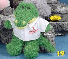 "10 inch alligator from the Ruddly Family. Order 10"" custom plush toy alligators from our plush toy company."