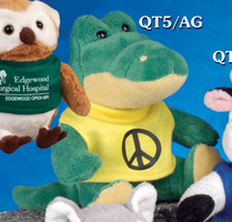 5 inch plush toy alligator from the Q-TEE Collection. Each alligator includes a one-color printed t-shirt.