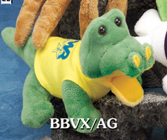 8 inch custom alligator plush toy with custom printed t-shirt. Order custom alligators with colored t-shirts.