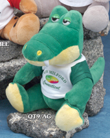 "9 inch stuffed alligator plush toy from the 9"" Q-Tee Collection. Order a custom alligator with a printed ribbon or t-shirt."