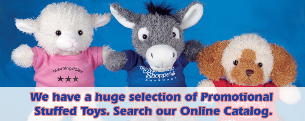 Customized stuffed animals for advertising your company or school. Order personalized brown teddy bears with silk-screened T-Shirts.