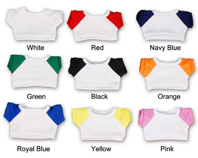 T-shirts with a white background and colored sleeves.