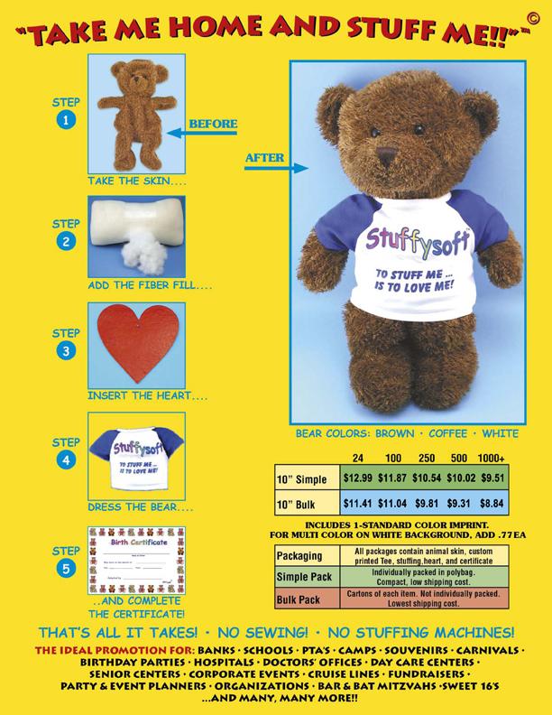 Unstuffed teddy bears. Build and stuff your own bears.