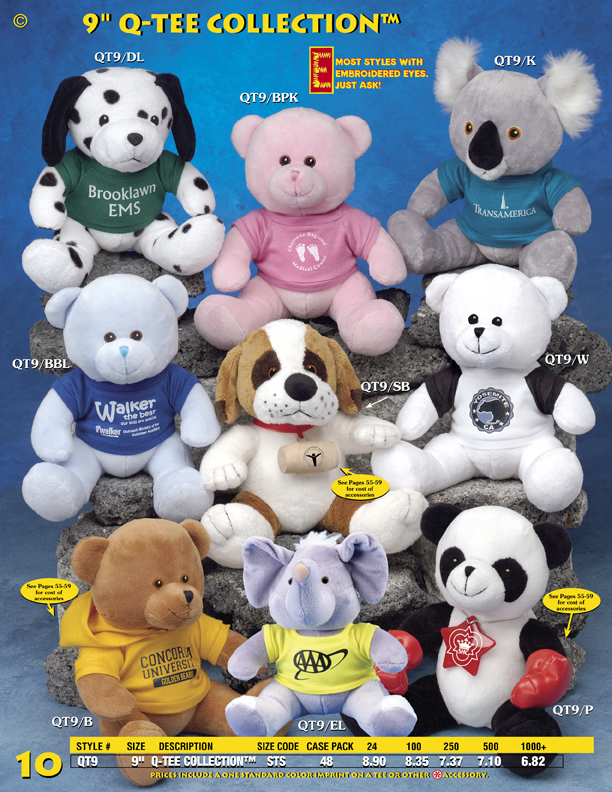 "Catalog Page 10. Order 9"" Q-Tee Stuffed Animals. Promotional stuffed bears, dogs and koalas."