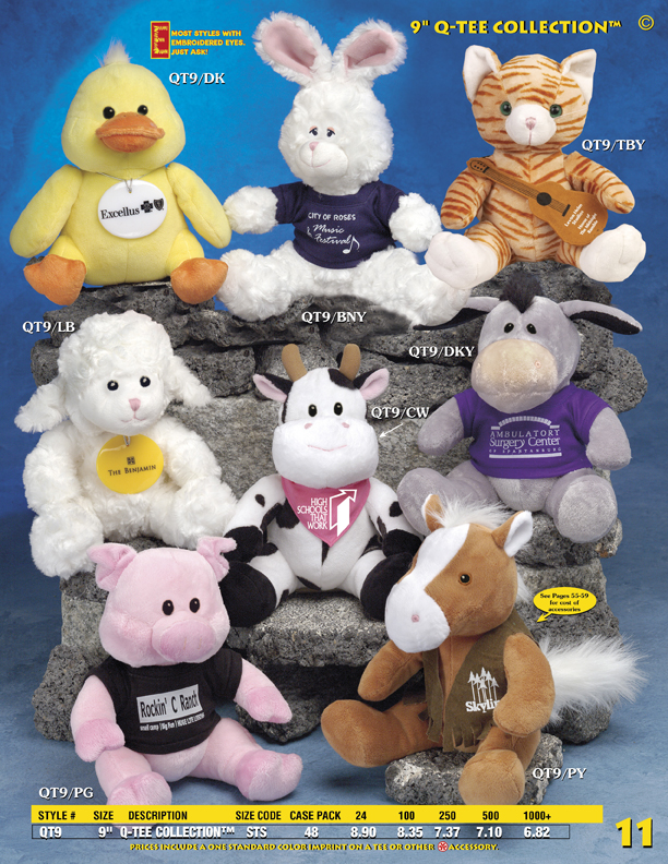 "Catalog Page 11. Order 9"" Squirrels, Cats, Lambs, Ducks, Ducks, Cows and Donkeys."