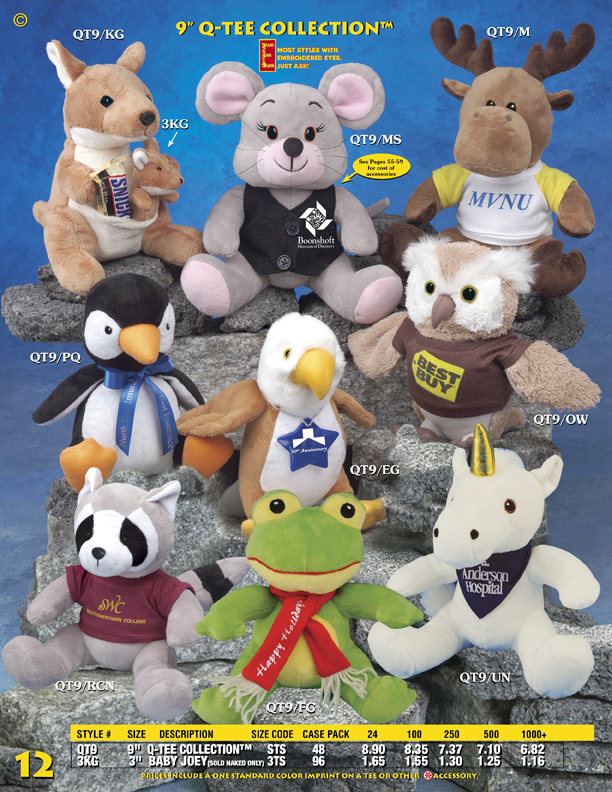 """Catalog Page 12. Order 9"""" Mooses, Raccoons, Owls, Frogs, Eagles, Mouses and Penguins."""