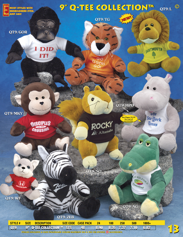 "Catalog Page 13. Order 9"" plush lions, hippos, alligators, zebras, apes, monkeys and tigers."
