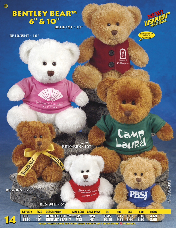 "Catalog Page 14. Order 6"" amd 10"" Bentley Bears. Soft plush toy bears with printed T-Shirts."