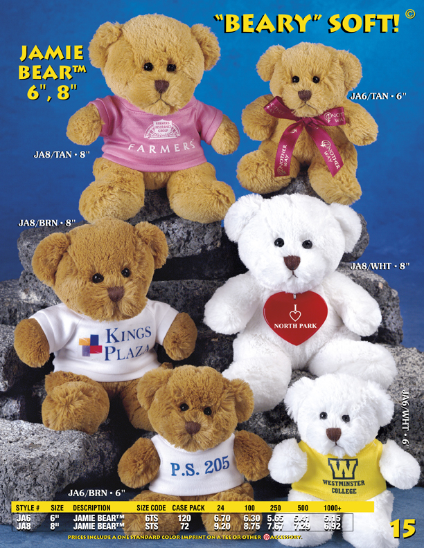 "Catalog Page 15. Order 6"" and 8"" soft teddy bears with printed bandanas, vests or ribbons."