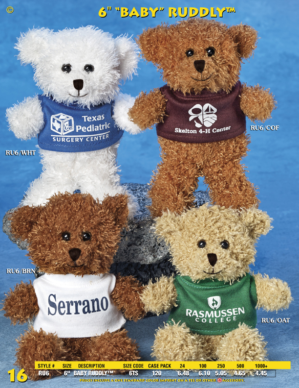 "Catalog Page 16. Order 6"" Fuzzy Teddy Bears with printed T-Shirts. Brown and white bears."