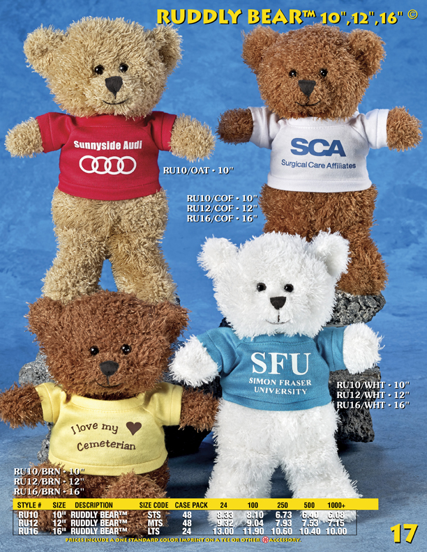 """Catalog Page 17. Order 10"""", 12"""" and 16"""" bears with T-Shirts and Hoodies. Teddy bears with jackets."""