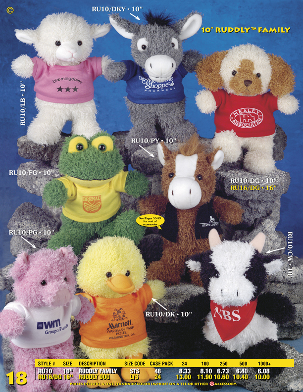"Catalog Page 18. Order 10"" toy dogs, chicks, pigs, cows, frogs, lambs, donkeys and bears."