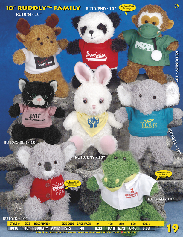 "Catalog Page 19. Order 10"" Reindeer, Pandas, Monkeys. Rabbits, Elephants, Koalas and Alligators."