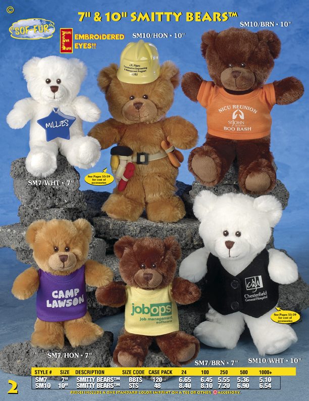 "Catalog Page 2. 7"" & 10 Smitty Bears."