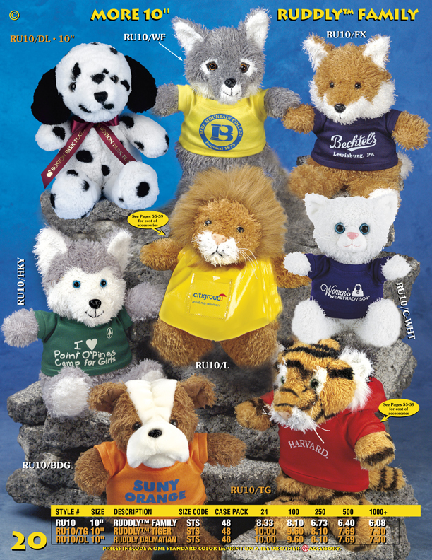 "Catalog Page 20. Order 10"" Promotional Wolves, Bears, Coyotes, Lions, Tigers and Foxes."