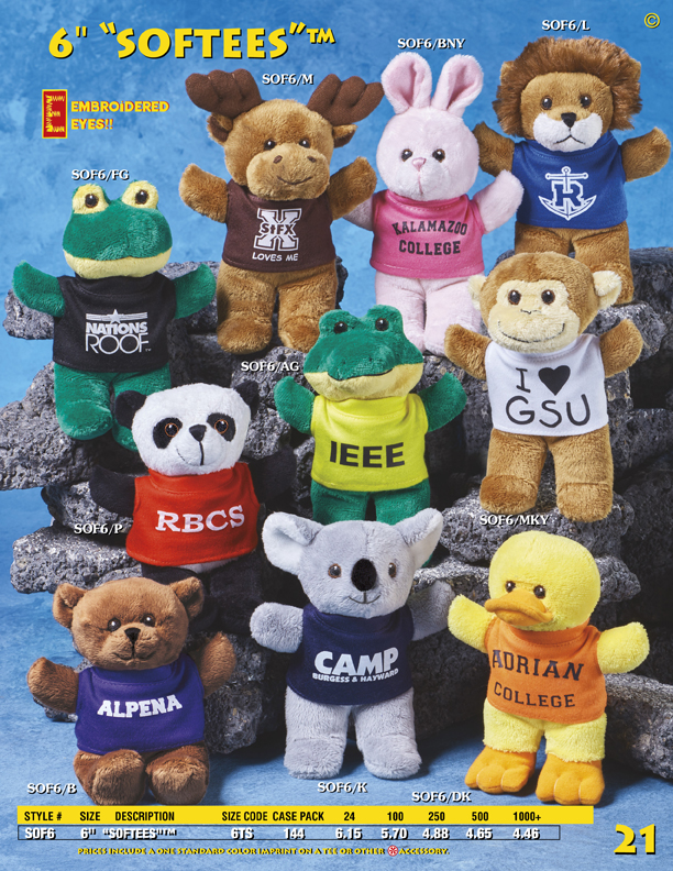 """Catalog Page 21. 7"""" and 10"""" Patty Bears with personalized t-shirts."""
