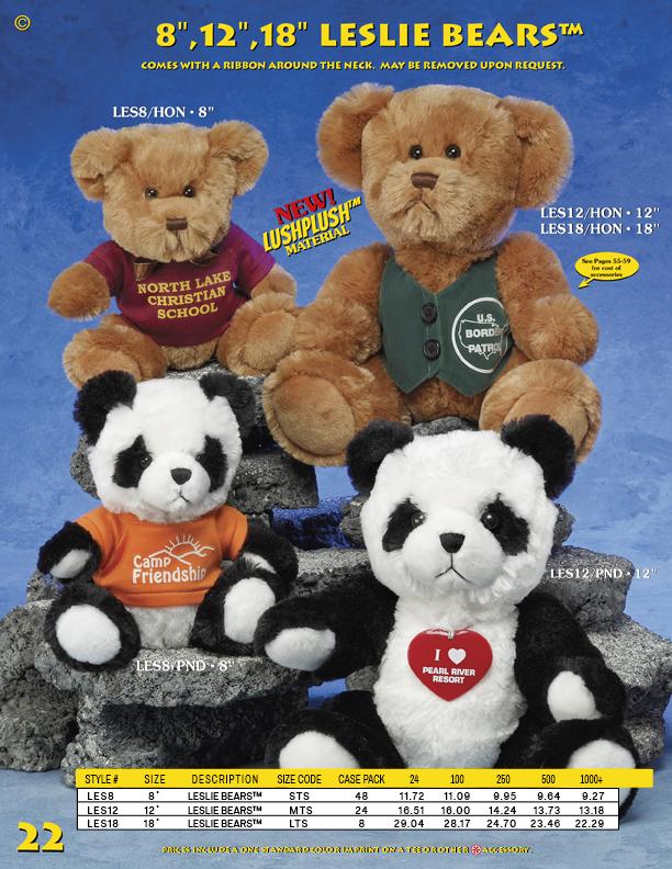 "Catalog Page 22. Custom 8"" and 12"" Leslie Bears. Custom Teddy Bears and Pandas."