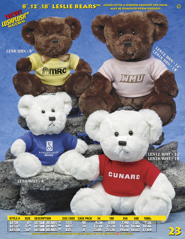 "Catalog Page 23. Custom 8"" and 12"" Leslie Bears. Brown bears and white bears."