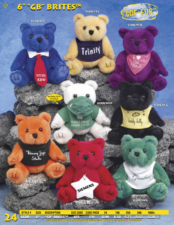 "Catalog Page 24. Custom 6"" Brite plush Teddy bears for sale. Order multiple colors."