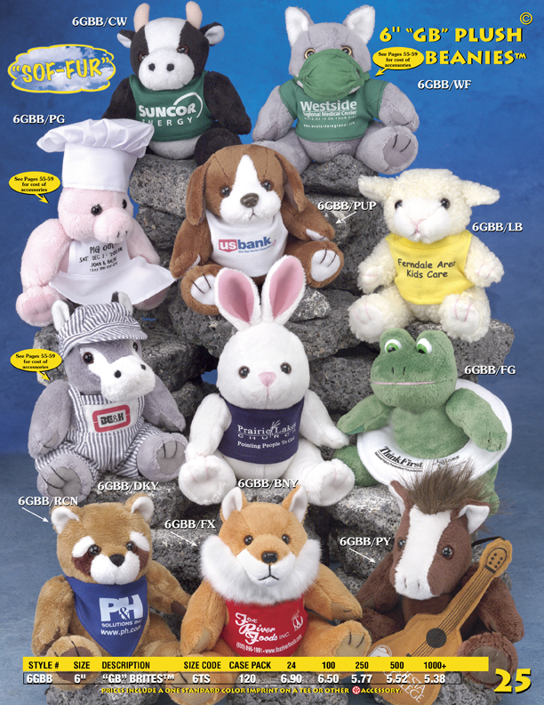 "Catalog Page 25. Custom 6"" toy wolves, frogs, sheep, horses, wolves, raccoons and pigs."