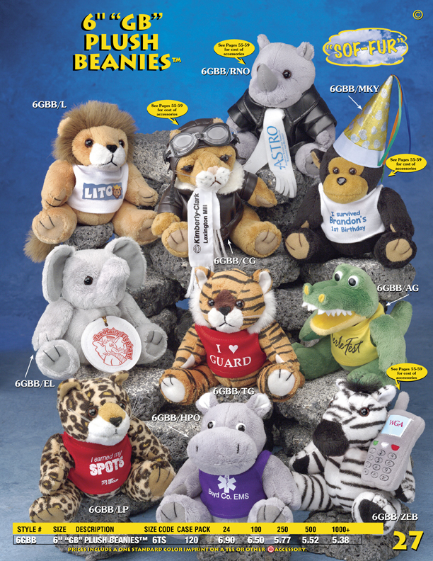 "Catalog Page 27. Custom 6"" stuffed animals including tigers, alligators, hippos, rhinos, elephants and teddy bears."