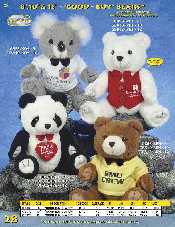 "Catalog Page 28. Custom 8"" teddy bears. Personalized 10"" panda bears. Customized 12"" brown teddy bears."