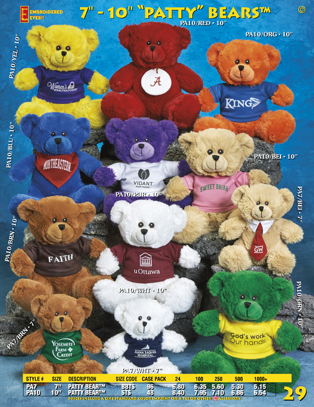 "Catalog Page 29. 7"" and 10"" Patty Bears with personalized t-shirts."