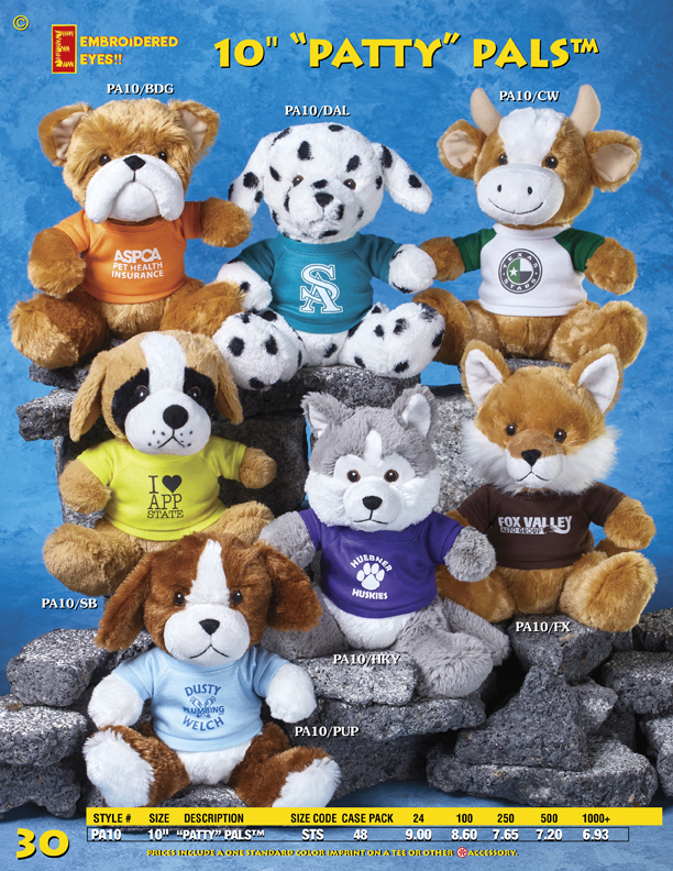 "Catalog Page 30. 10"" Stuffed Bulldog, Dalmatian, Cow, St. Bernard Dog, Husky, Fox and Puppy Dog."