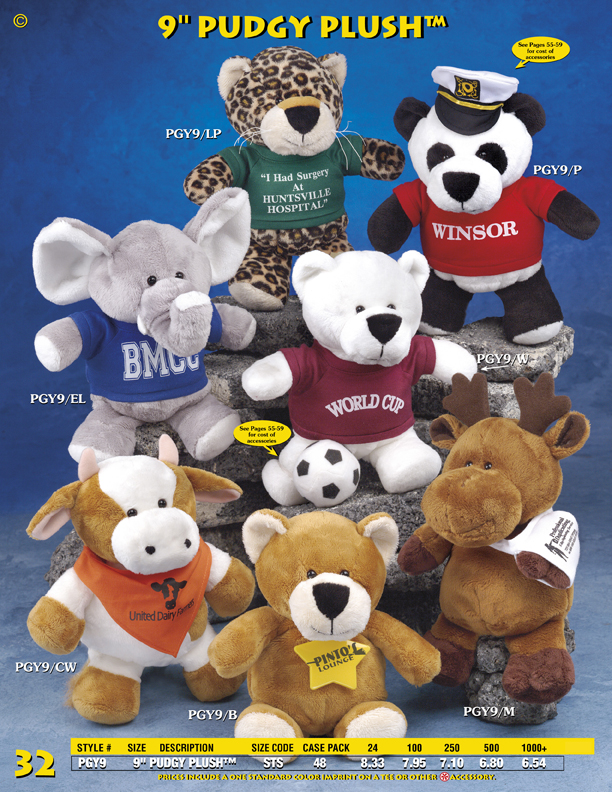 "Catalog Page 32. Customized 9"" stuffed animals. Order plush cows, moose, foxes, leopards and elephants."