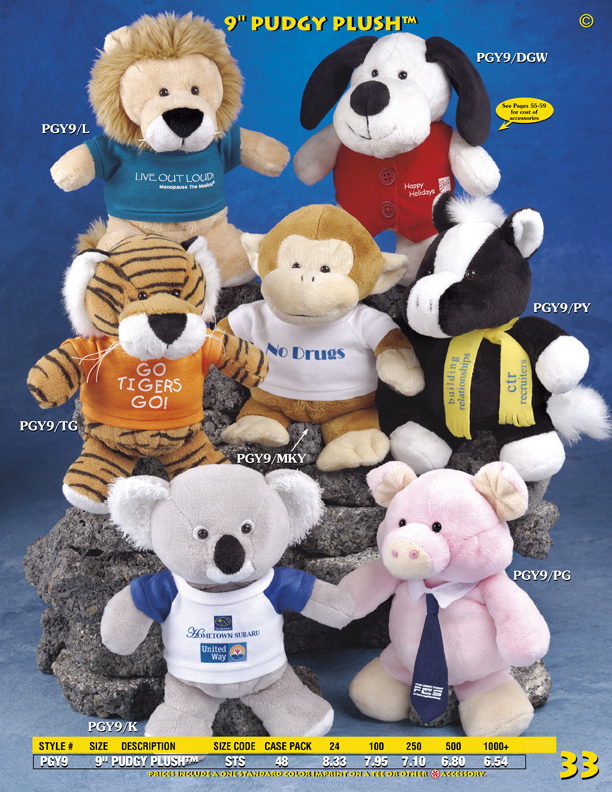 "Catalog Page 33. Customized 9"" stuffed bears. Customized tigers, dogs, lions, monkeys, pigs, ponies, and koalas."