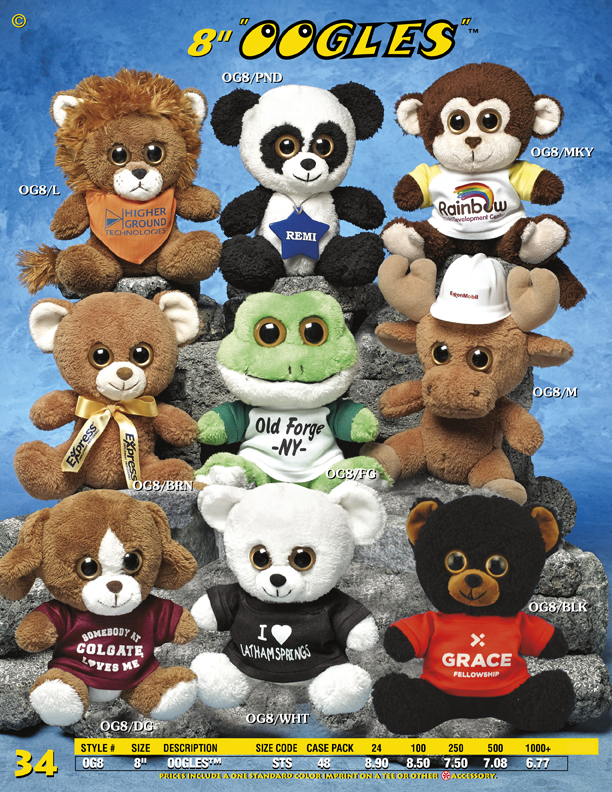 "Catalog Page 34. 8"" Oogles stuffed animals with large eyes. Choose from a moose, frog, lion, dog, white bear and brown bear."