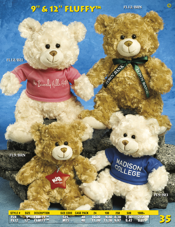"Catalog Page 35. 9"" and 12"" Fluffy Teddy Bears. Printed t-shirt is included."