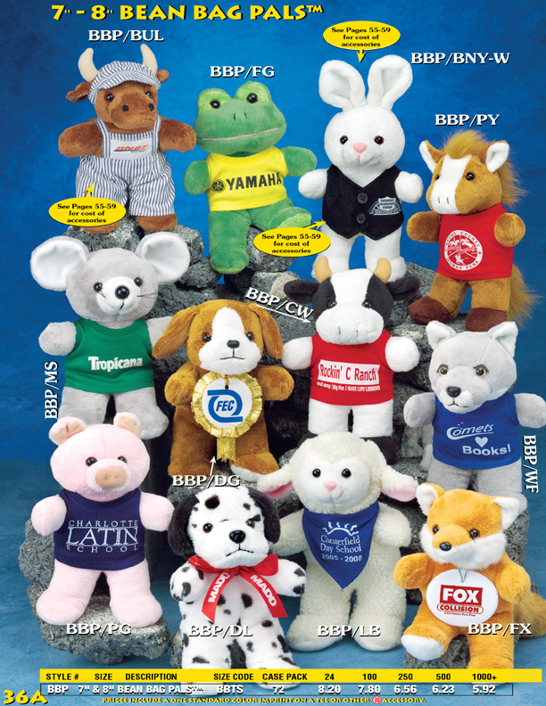 """Catalog Page 36A. 7"""" promotional beanie animals. 8"""" customized beanie anaimals."""
