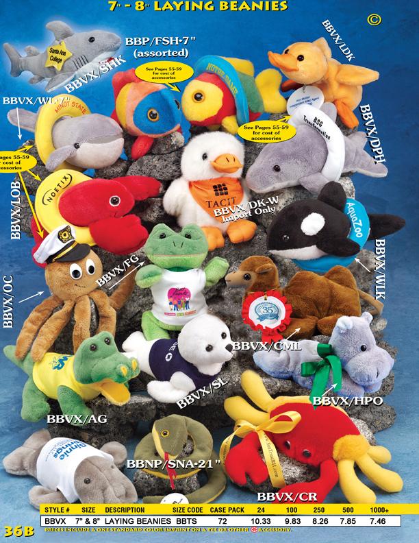 Catalog Page 36B. Bean bag animals for sale. Order a custom beanie bear, lion, monkey, koala bear, penguin, moose and cat.