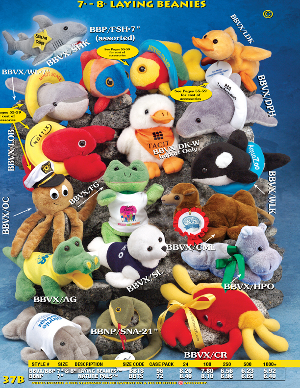 Catalog Page 37B. Laying beanie animals including lobster, fish, shark, whale, seal,alligator, snake, crab and camel.