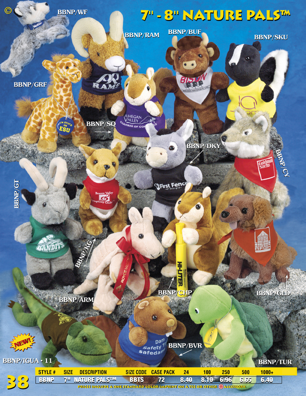 "Catalog Page 38. 7"" Nature Pals. Customized dogs, rabbits, skunks, buffalos, rams, giraffes and wolves."