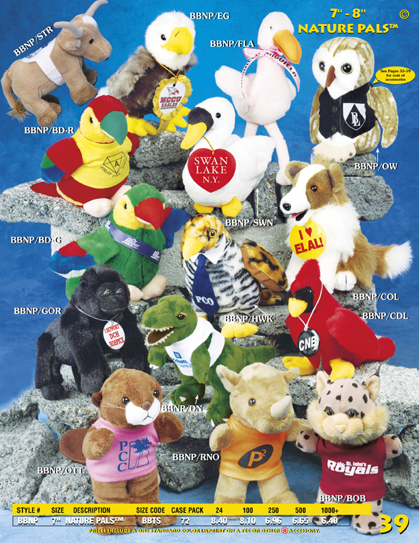 "Catalog Page 39. 7"" Nature Pals. Personalized owls, alligators, apes, red robins, cardinals, dogs and parrots."