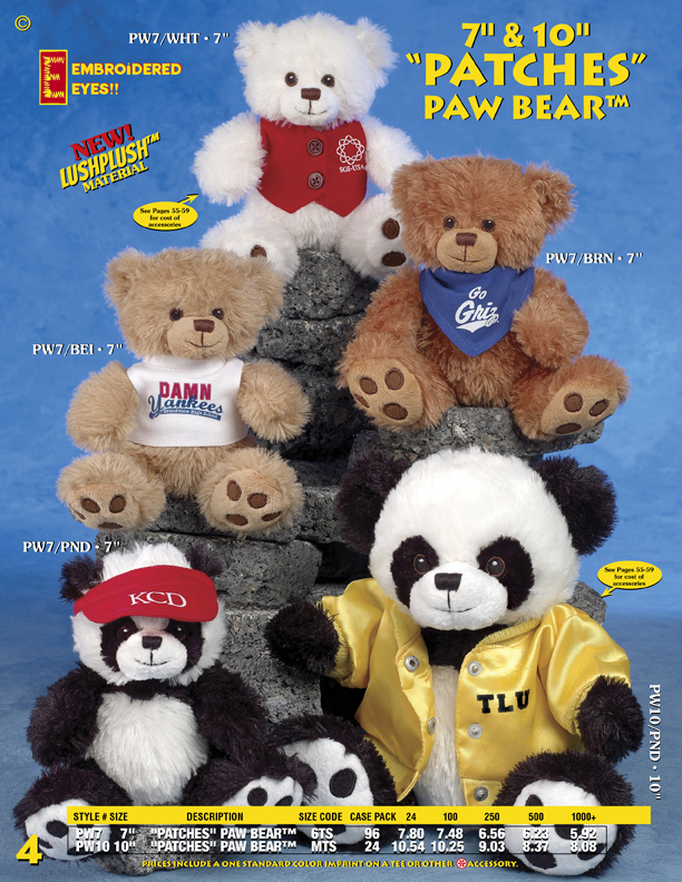 "Catalog Page 4. Order 7"" and 10"" ""PATCHES"" PAW BEAR. Stuffed bears with printed T-Shirts."