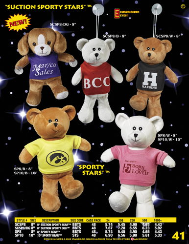 "Catalog Page 41 - 8"" and 10"" Sporty Stars Bears and Dog with suction cups attached."