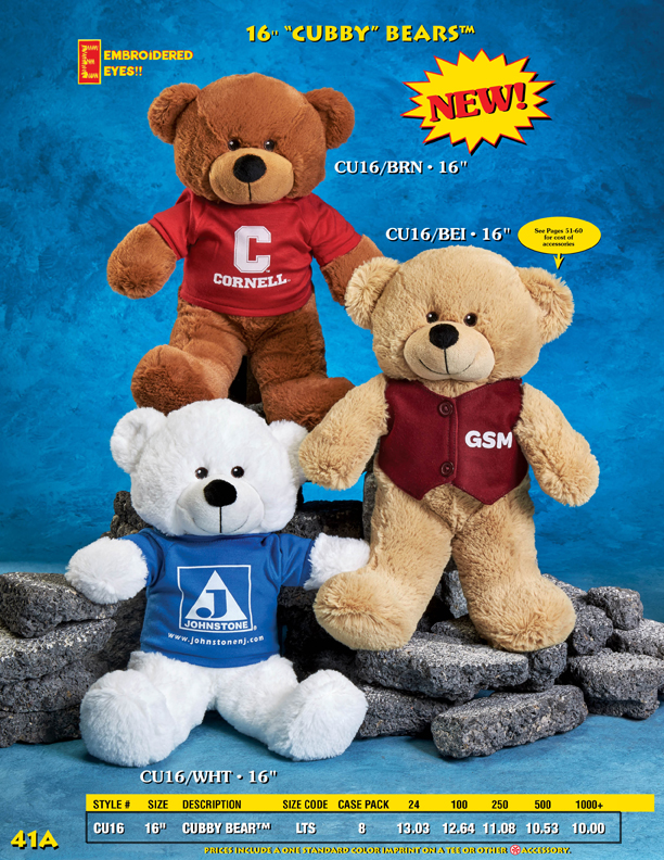 "Catalog Page 41A. 16"" teddy bears with personalized t-shirt."