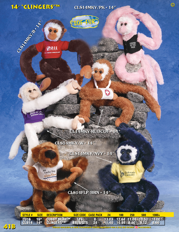 "Catalog Page 41B. 14"" hanging monkeys with Velcro in the hands to help them hang."