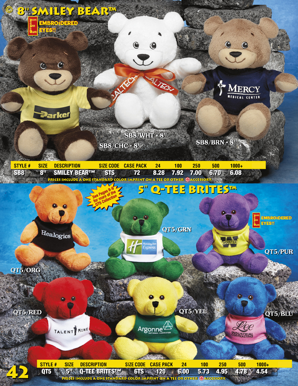 "Catalog Page 42. 5"" teddy bears with custom printed t-shirts."