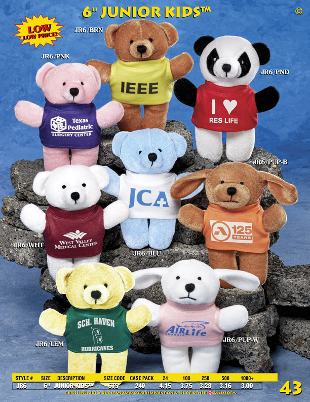 "Catalog Page 43. Custom small bears with printed t-shirts. Custom 9"" stuffed teddy bears for sale."