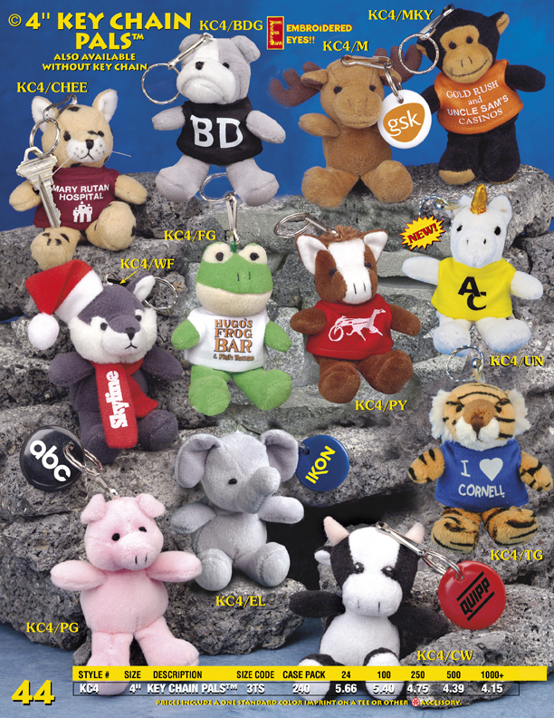 "Catalog Page 44. 4"" Key Chain Pals. 4"" plush toys keychains. Bear keychains."