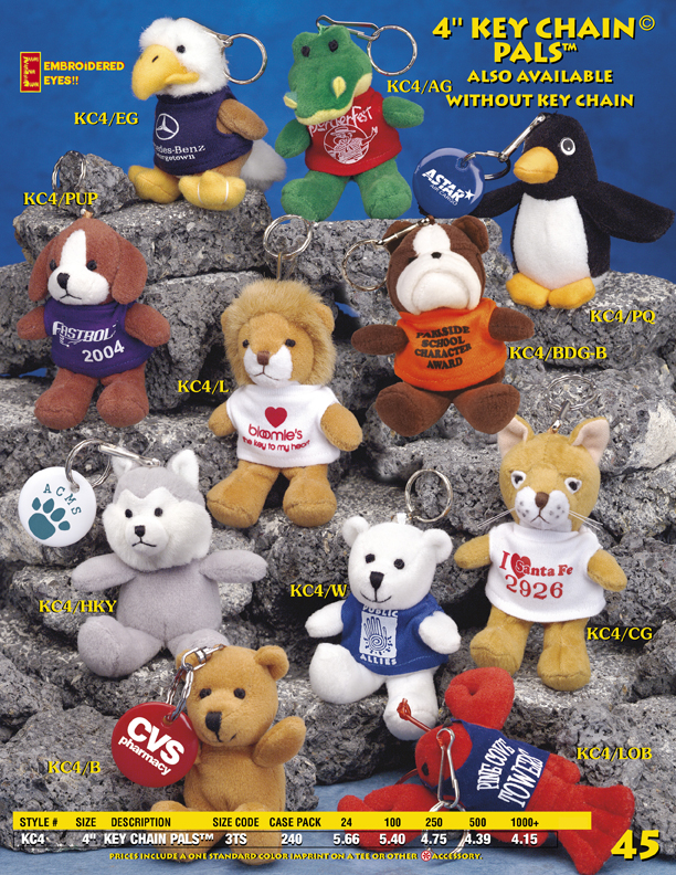 "Catalog Page 45. 4"" toy dog key chains. 4"" elephant keychains. Lion keychains."