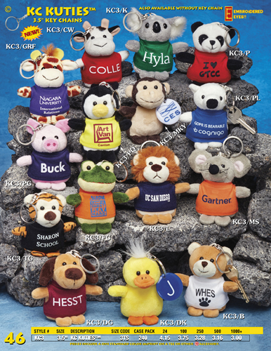 "Catalog Page 46 - 3.5"" Key Chain Stuffed Animals"