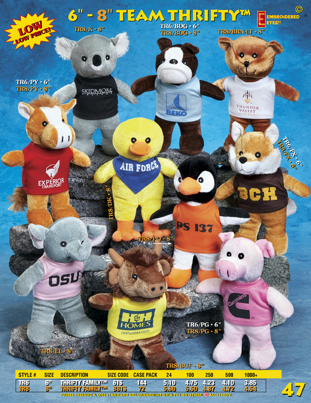 Catalog Page 47. Customized stuffed toys with promotional T-Shirts. Inexpensive stuffed animals with personalized t-shirts.