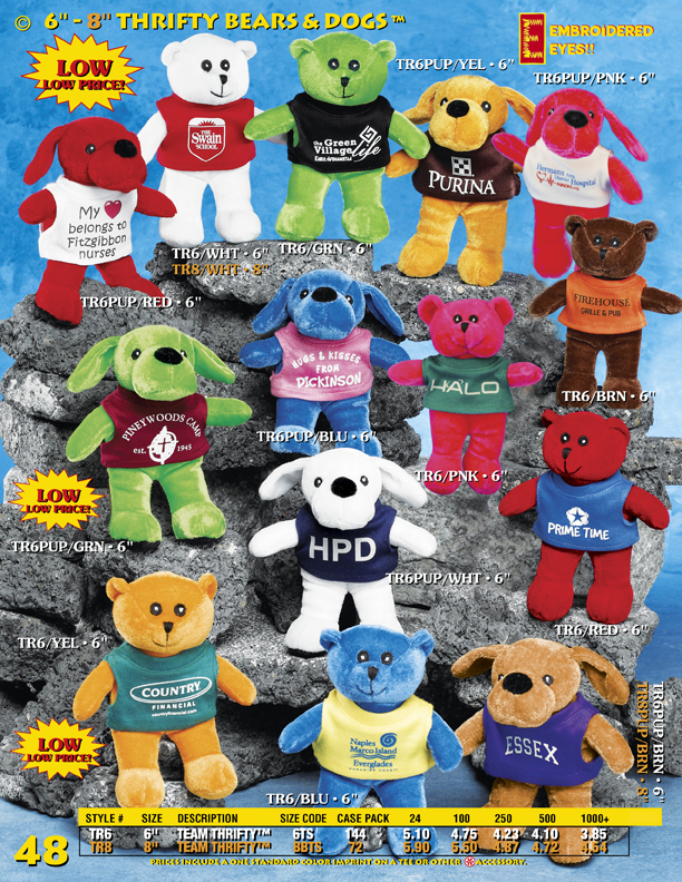 Catalog Page 48. Discount teddy bears and stuffed dogs. Pricing includes the personalized t-shirt.