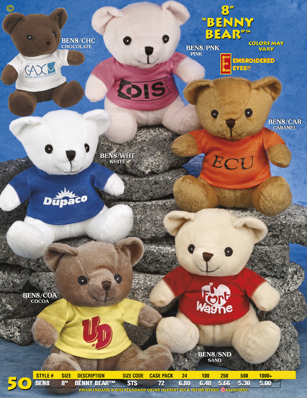 "Catalog Page 50. Large size teddy bears. 18"", 24"", 36"" and 44"" size teddy bears with custom printed t-shirts."